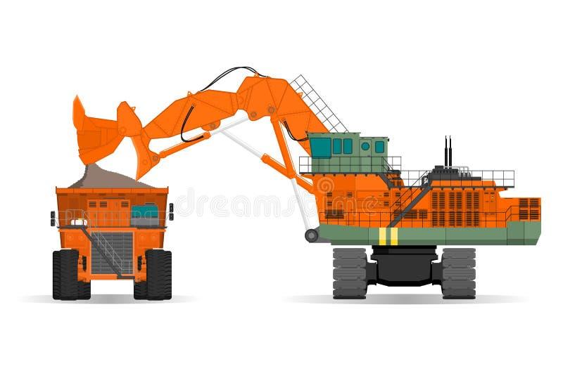 Máquina escavadora e caminhão de descarga gigantes do ridig em uma superfície ilustração do vetor