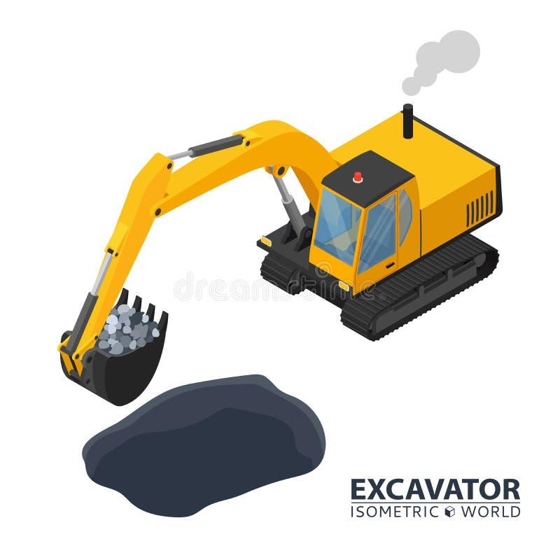 Máquina escavadora isométrica isolada no fundo branco escavador da construção do ícone 3d ilustração do vetor