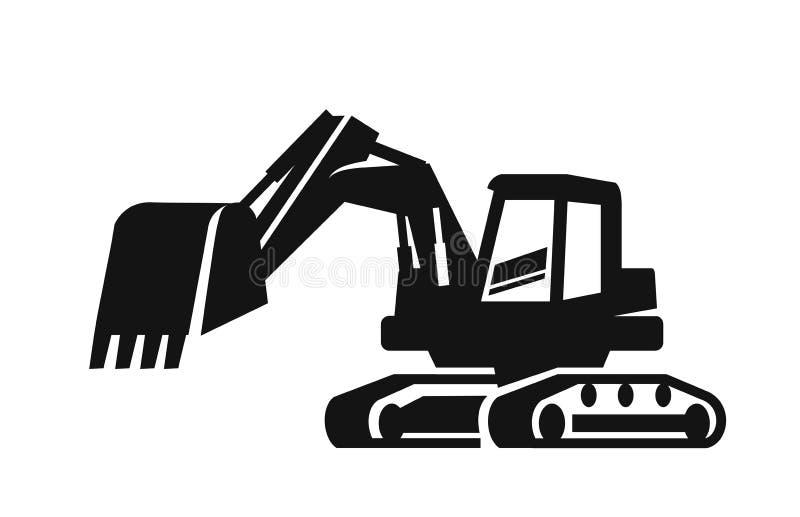 Máquina escavadora preta do vetor ilustração royalty free