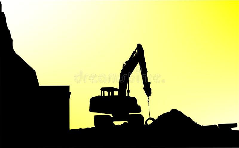 Máquina escavadora que escava para reconstruir a cidade imagens de stock royalty free