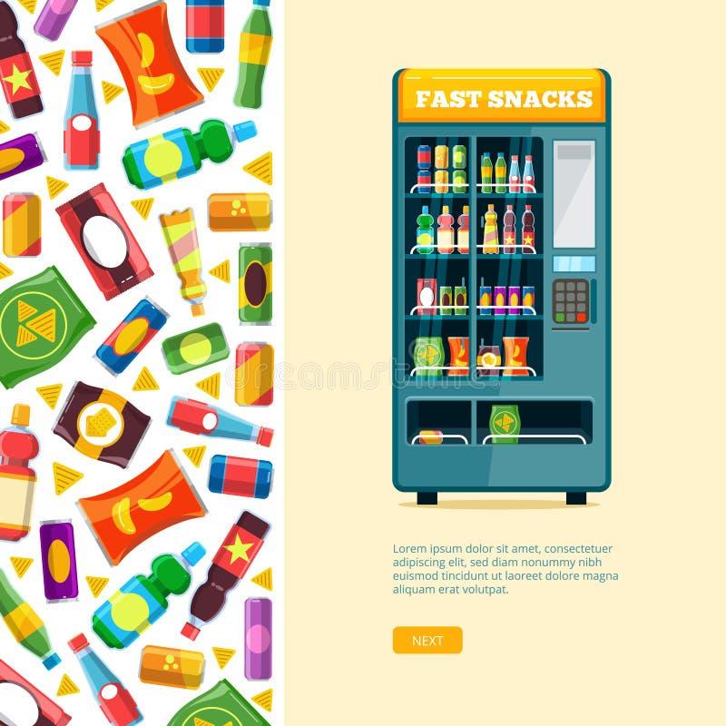 Máquina expendedora china venta automática de la comida malsana del bocado ilustración del vector