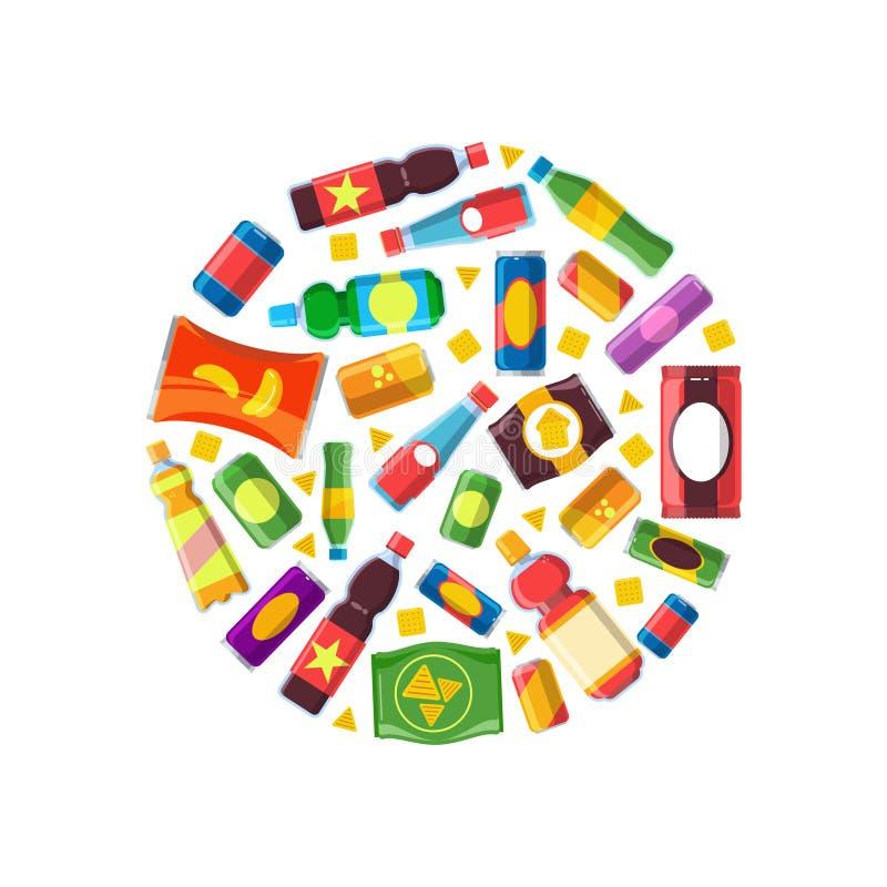 Máquina expendedora china venta automática de la forma malsana del círculo del vector de la comida del bocado con los ejemplos pl stock de ilustración