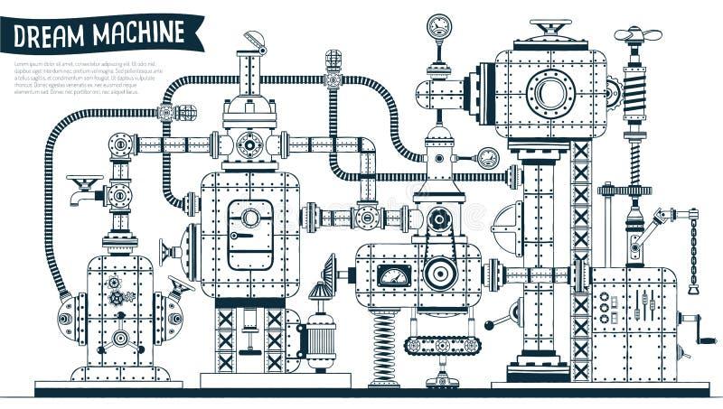 Máquina fantástica complexa do steampunk ilustração stock