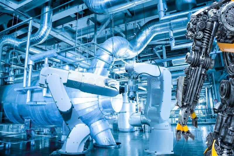 Máquina-herramienta robótica automática de la mano del control humano del robot imágenes de archivo libres de regalías