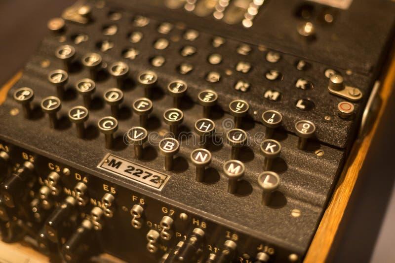 Máquina histórica da codificação do engima no waltrop Alemanha fotografia de stock