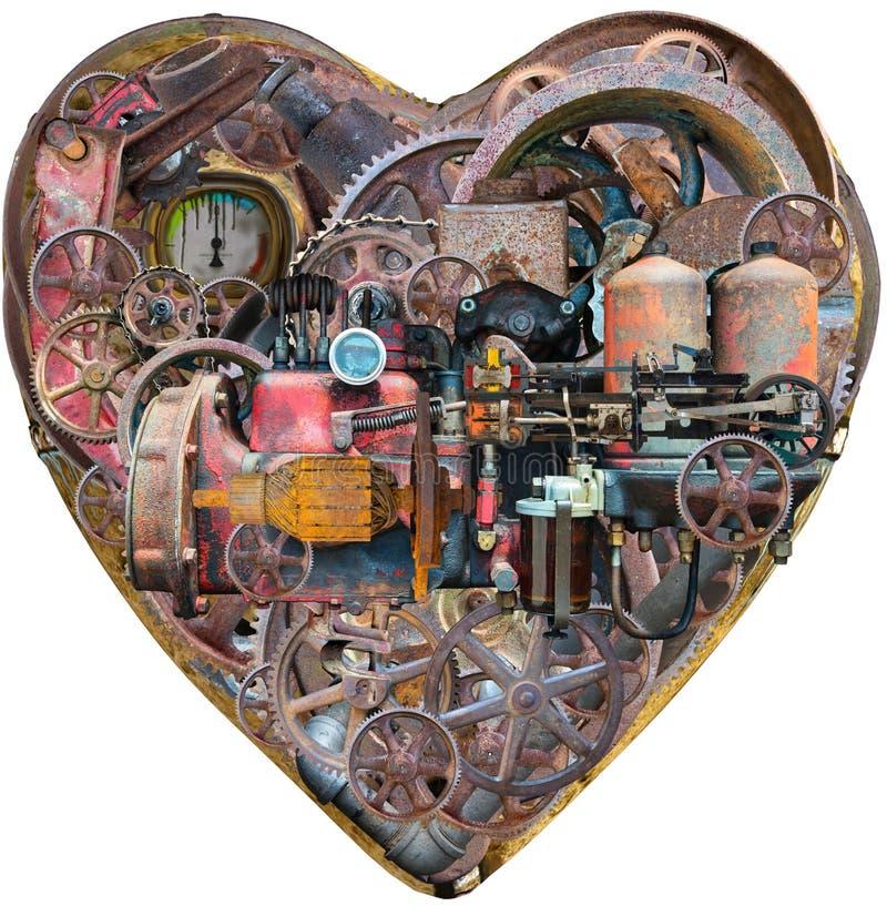 Máquina humana del corazón de Steampunk, aislada stock de ilustración