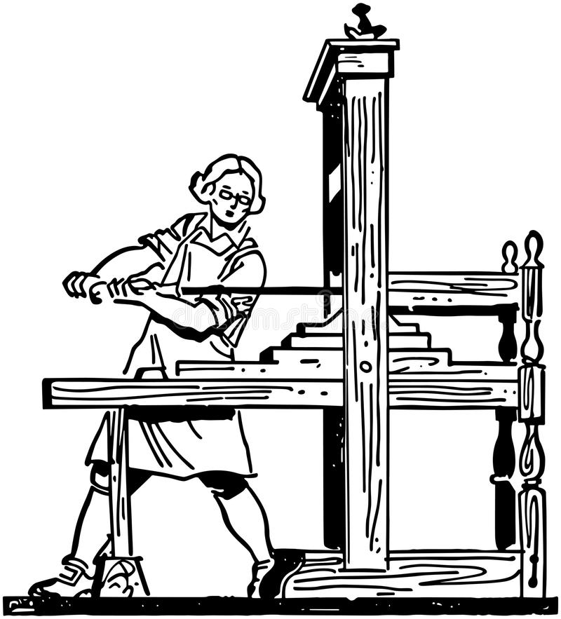Máquina impressora colonial ilustração do vetor