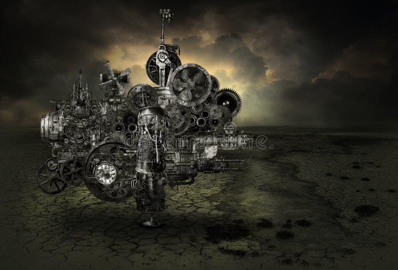 Máquina industrial da fábrica de Steampunk imagem de stock royalty free