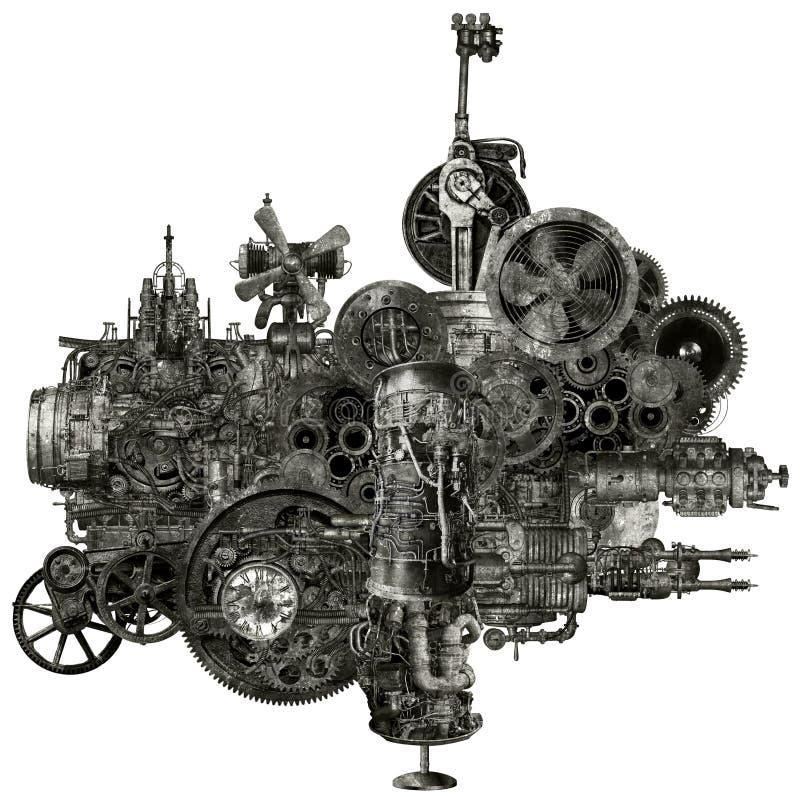 Máquina industrial da fabricação de Steampunk isolada imagens de stock