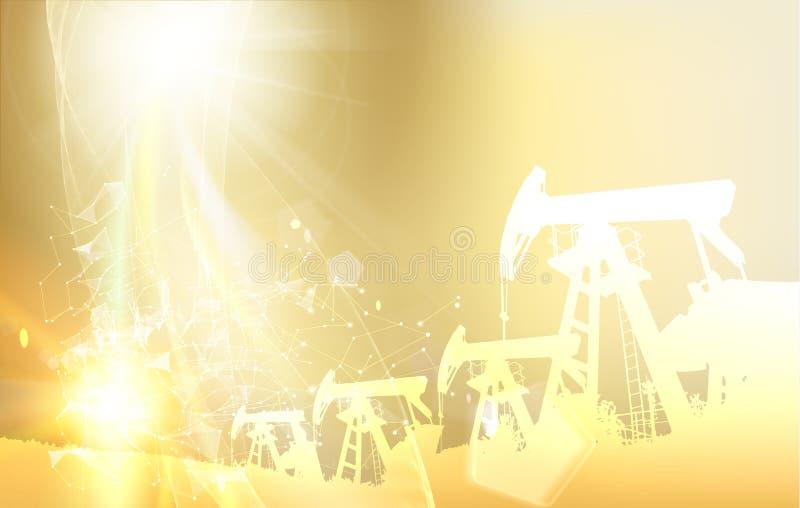 Máquina industrial de la torre de perforación de aceite para perforar Forma poligonal con los puntos y las líneas Fondo futurista ilustración del vector