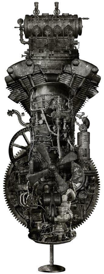 Máquina industrial del Grunge de Steampunk aislada libre illustration