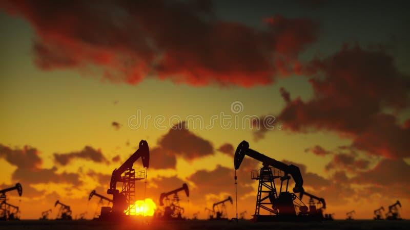Máquina industrial do jaque da bomba para o petróleo no por do sol Silhueta de um óleo de bombeamento do jaque da bomba contra um ilustração do vetor