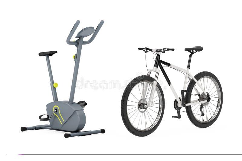 Máquina inmóvil del gimnasio de la bicicleta estática cerca de Mounta blanco y negro libre illustration