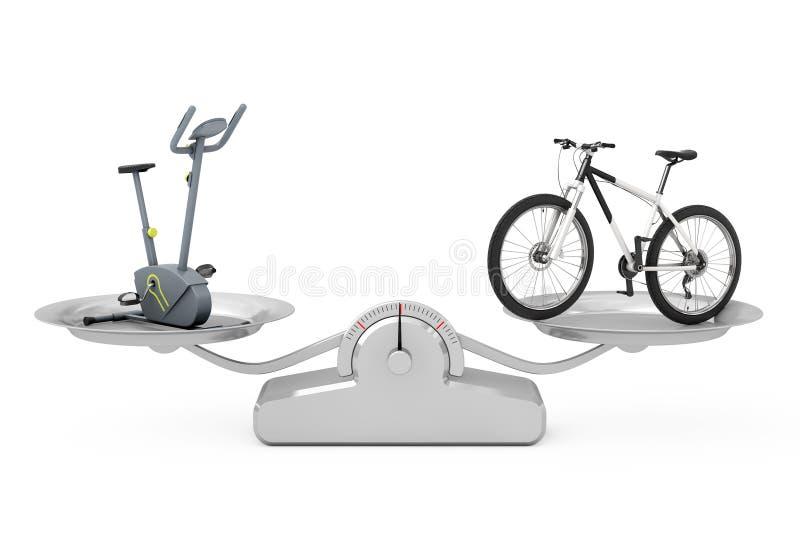 Máquina inmóvil del gimnasio de la bicicleta estática y Mountai blanco y negro stock de ilustración