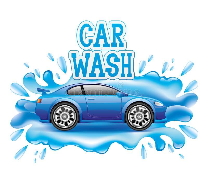 Máquina limpa de Washington do carro, lavagem de carro com esponja e mangueira ilustração royalty free
