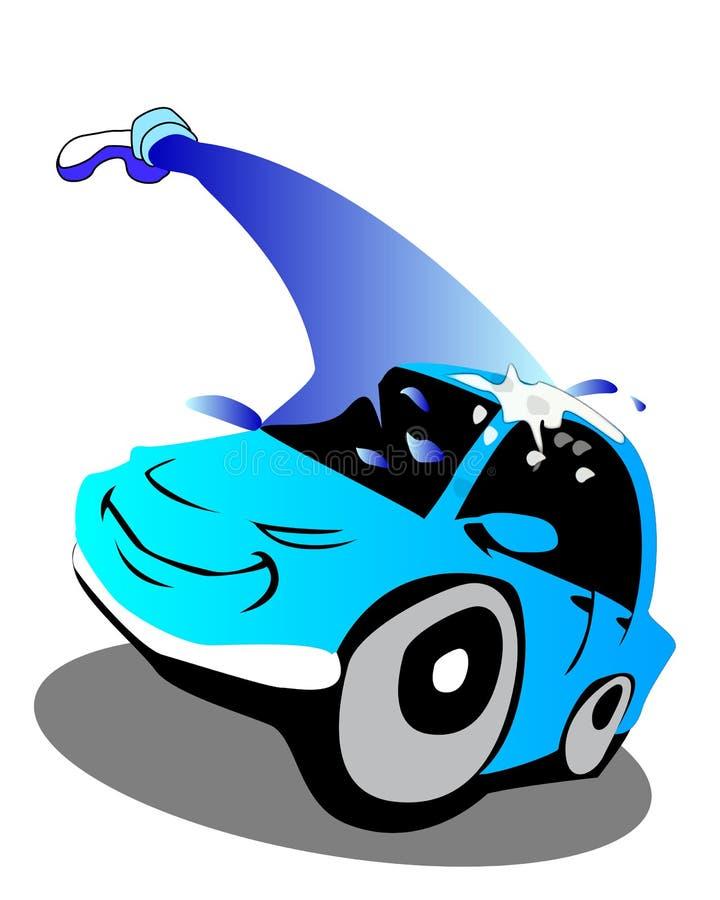 Máquina limpia de Washington del coche, colada de coche con la esponja y manguito stock de ilustración