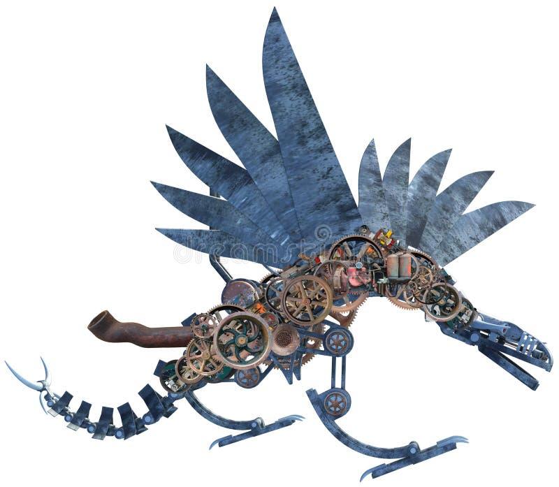 Máquina mecânica Dragon Isolated de Steampunk ilustração do vetor