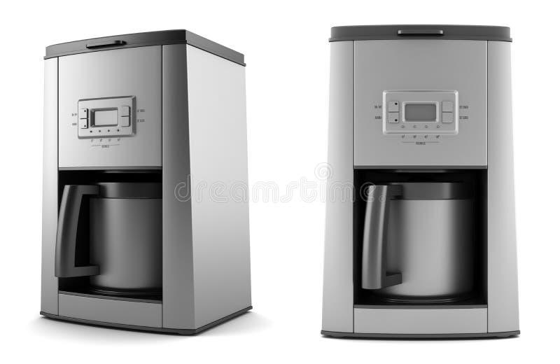 Máquina moderna do café isolada no fundo branco ilustração stock