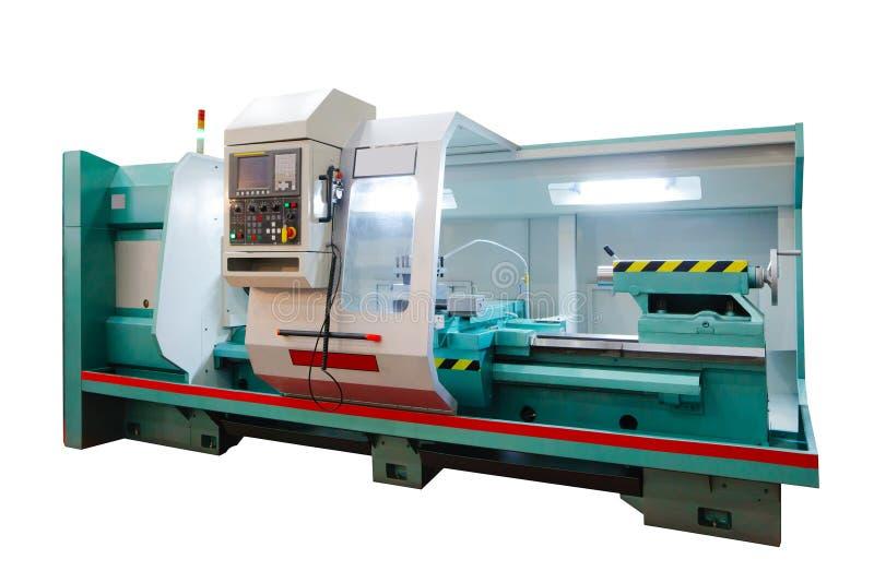 Máquina profissional de fabricação do torno Conceito industrial Torno digital moderno programável isolado no fundo branco fotografia de stock