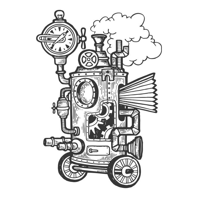 Máquina punky del vapor fantástico que graba vector ilustración del vector