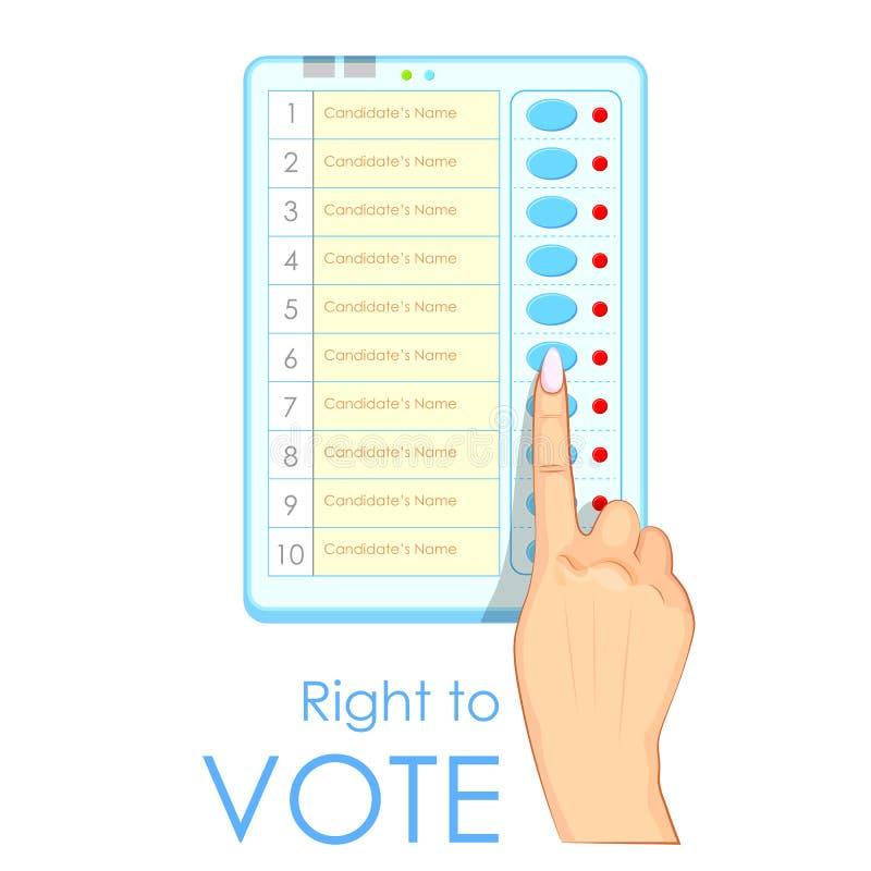 Máquina que registra y cuenta los votos emitidos electrónico del presionado a mano libre illustration