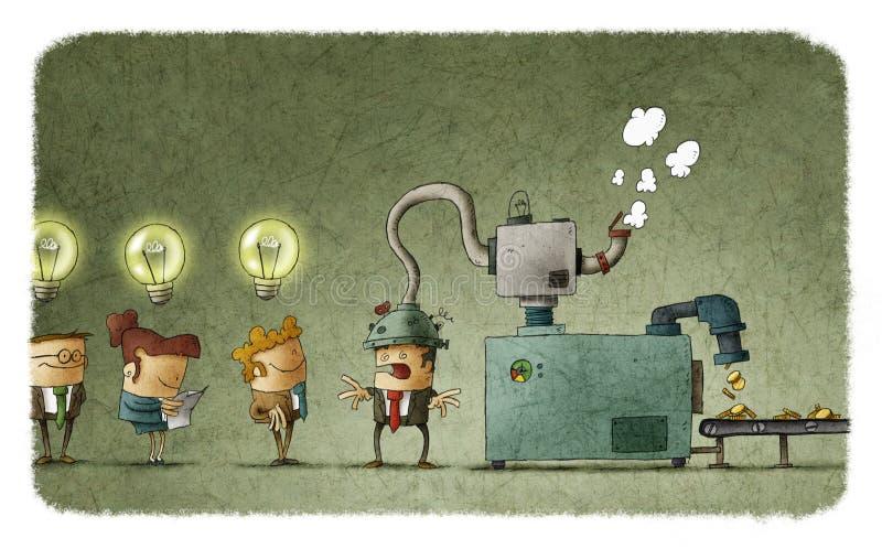 Máquina que rouba a ideia da cabeça do homem ilustração royalty free