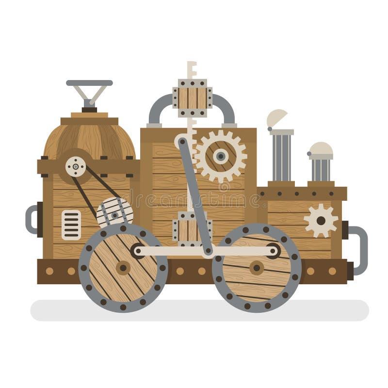 Máquina retra de madera stock de ilustración