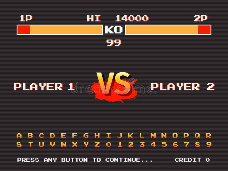 Máquina retra del juego de arcada de la pantalla Plantilla de la arcada que lucha ilustración del vector
