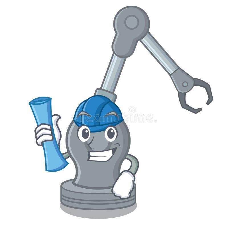 Máquina robótica del brazo del juguete del arquitecto en forma de la historieta ilustración del vector