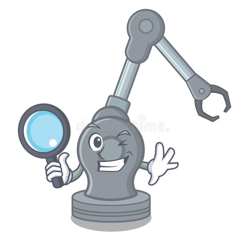 Máquina robótica del brazo del juguete detective en forma de la historieta stock de ilustración