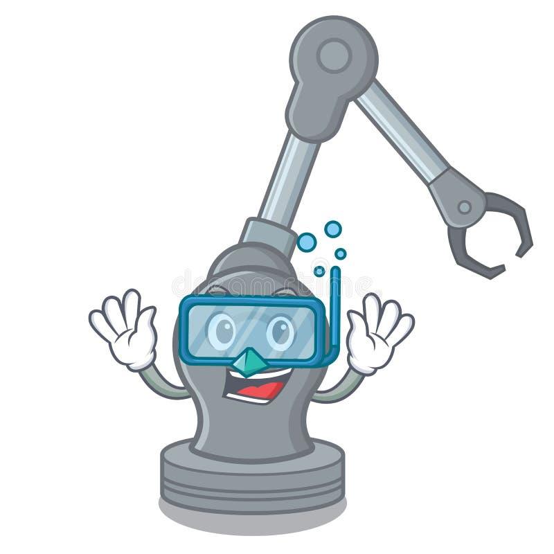 Máquina robótica del brazo del juguete que se zambulle en forma de la historieta libre illustration
