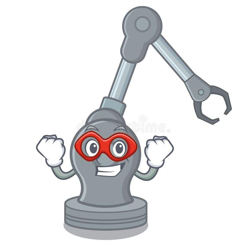 Máquina robótica del brazo del juguete del superhéroe en forma de la historieta ilustración del vector