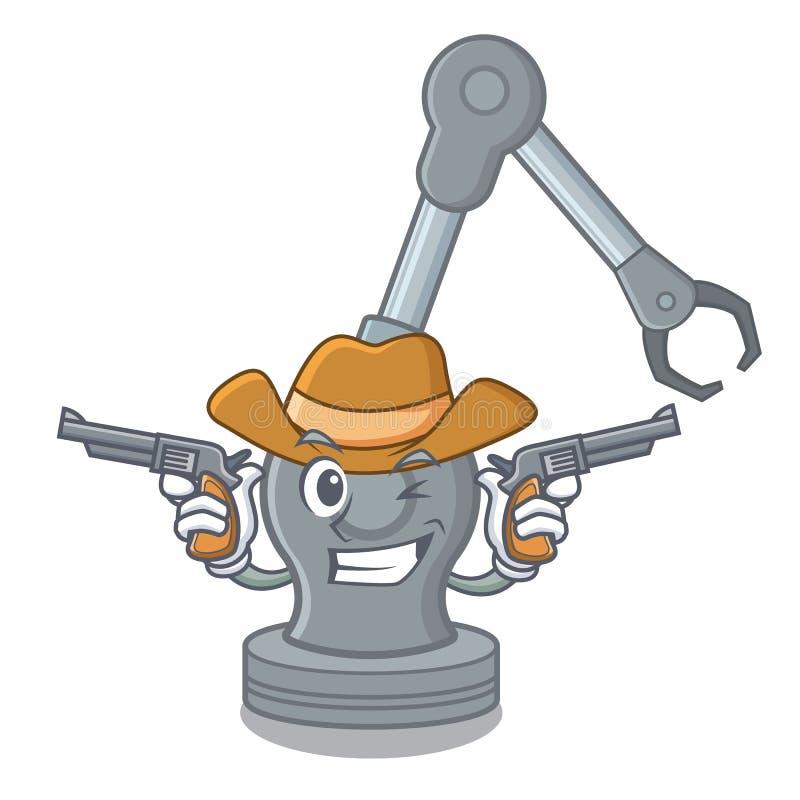 Máquina robótica del brazo del vaquero aislada en carácter stock de ilustración