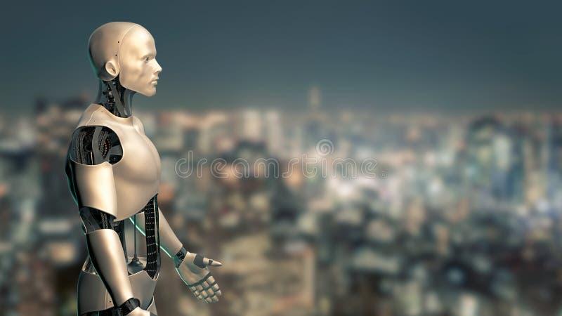 Máquina robótica, humanoide usando inteligência artificial no ambiente urbano ilustração stock
