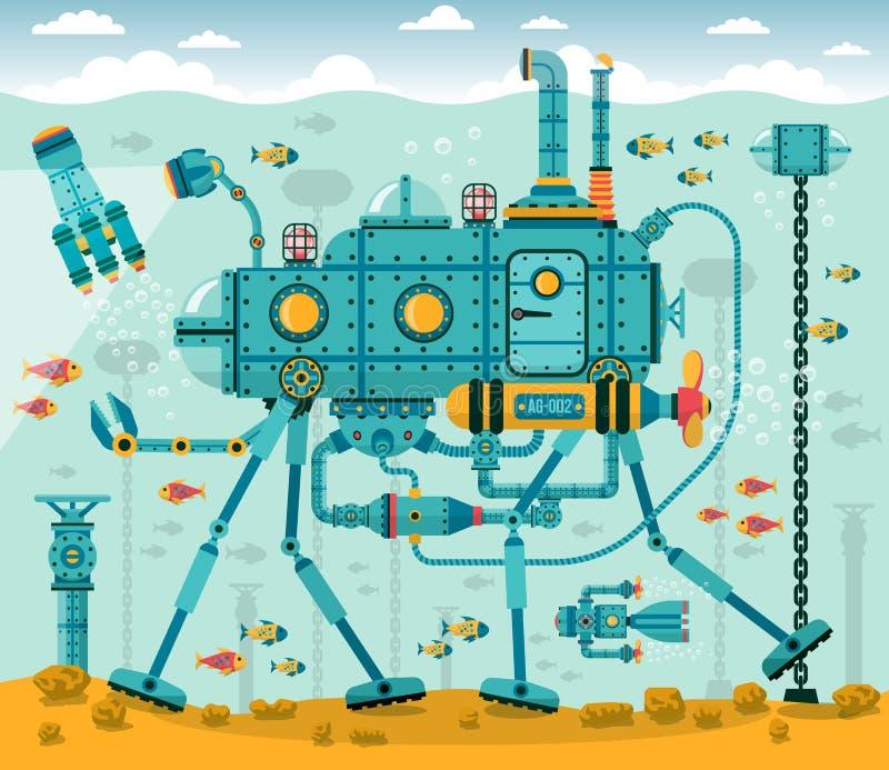 Máquina subacuática fantástica ilustración del vector