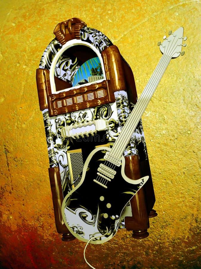 Máquina tocadiscos y guitarra stock de ilustración