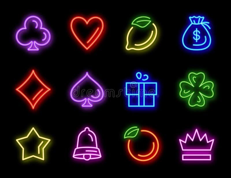 Máquina tragamonedas iconos de neón para juegos de casino stock de ilustración