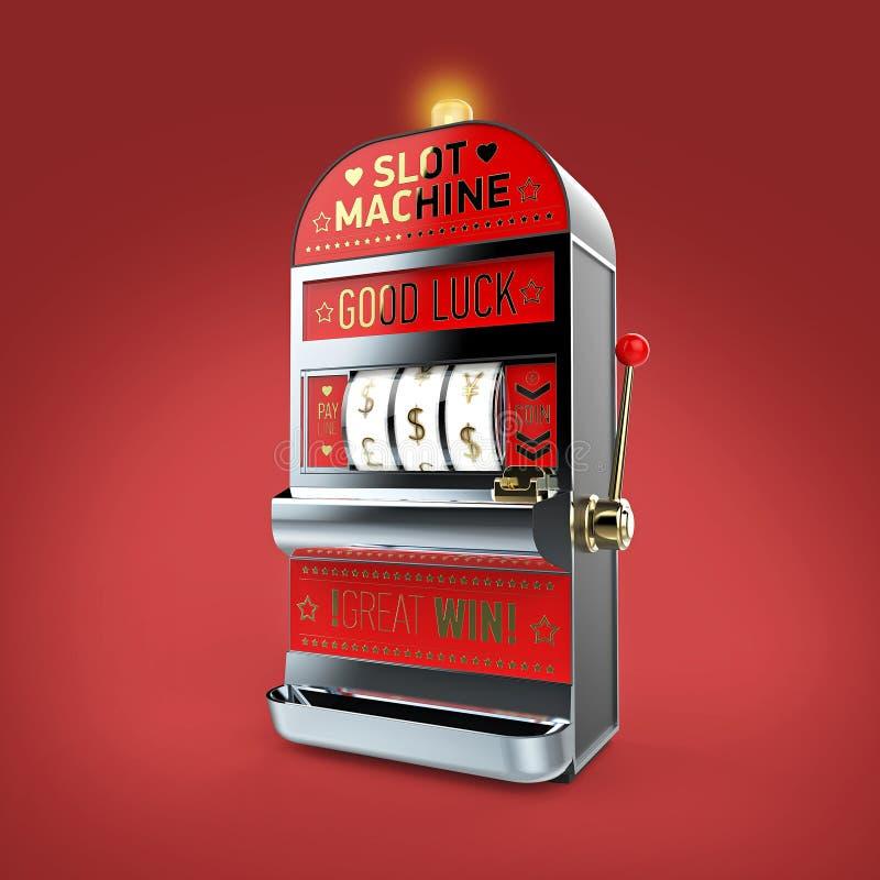 máquina tragaperras clásica del vintage con los carretes de los símbolos de moneda aislado en fondo del color rinda libre illustration