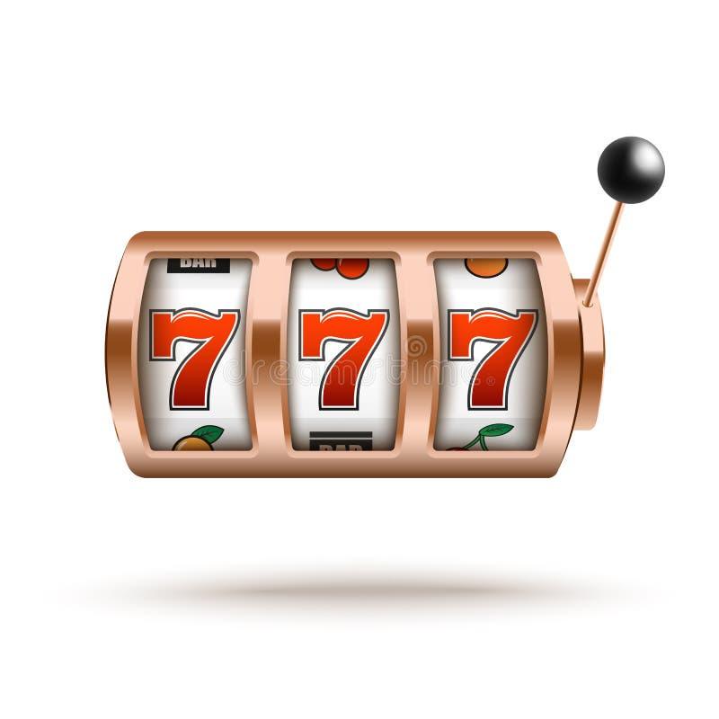 Máquina tragaperras de bronce con la combinación afortunada de tres sevens en estilo realista stock de ilustración