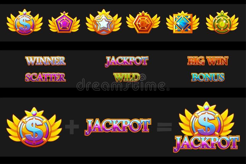 Máquina tragaperras de las creaciones e iconos del juego Piedras coloridas de la joyería del vector Constructor de los iconos Act ilustración del vector