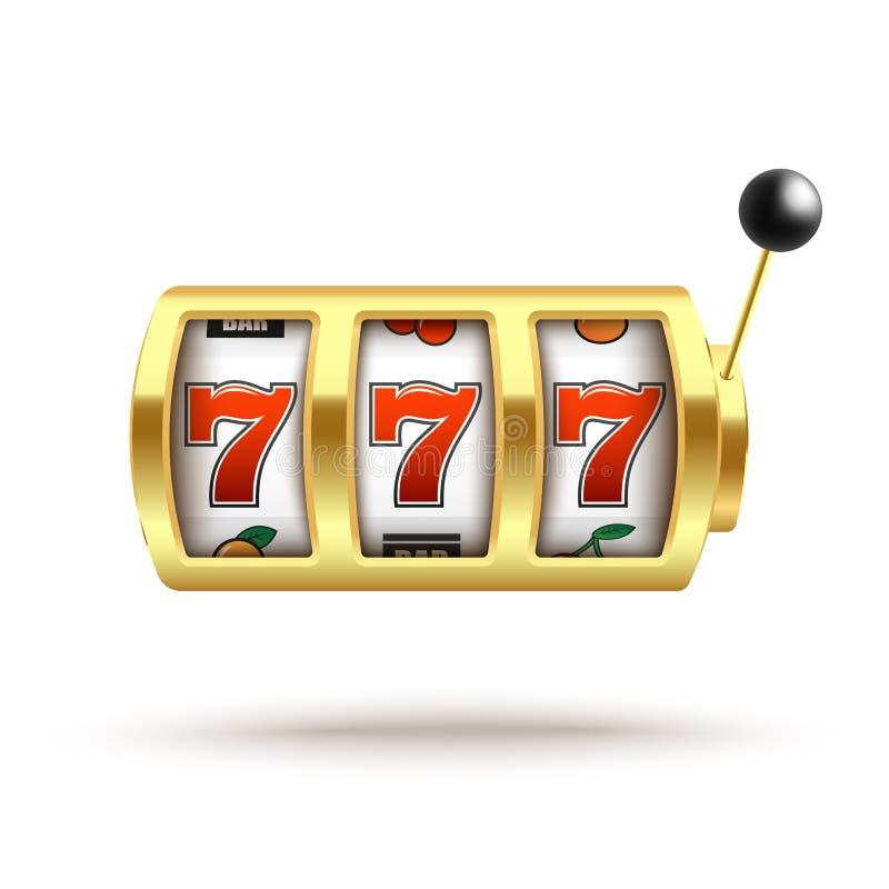 Máquina tragaperras de oro con bote afortunado de tres sevens en estilo realista ilustración del vector