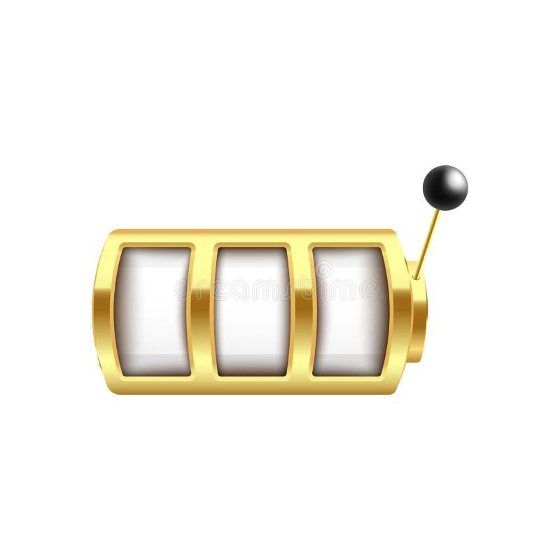 Máquina tragaperras de oro con tres estilos realistas en blanco de los elementos de la vuelta y del brazo de palanca stock de ilustración