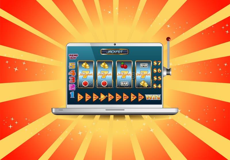 Máquina tragaperras en línea del bote en el ordenador portátil libre illustration