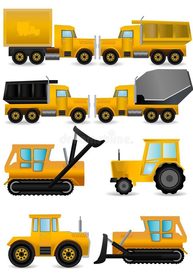 máquinas amarelas ajustadas da construção ilustração stock