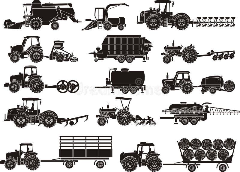 Máquinas da agricultura ajustadas ilustração royalty free