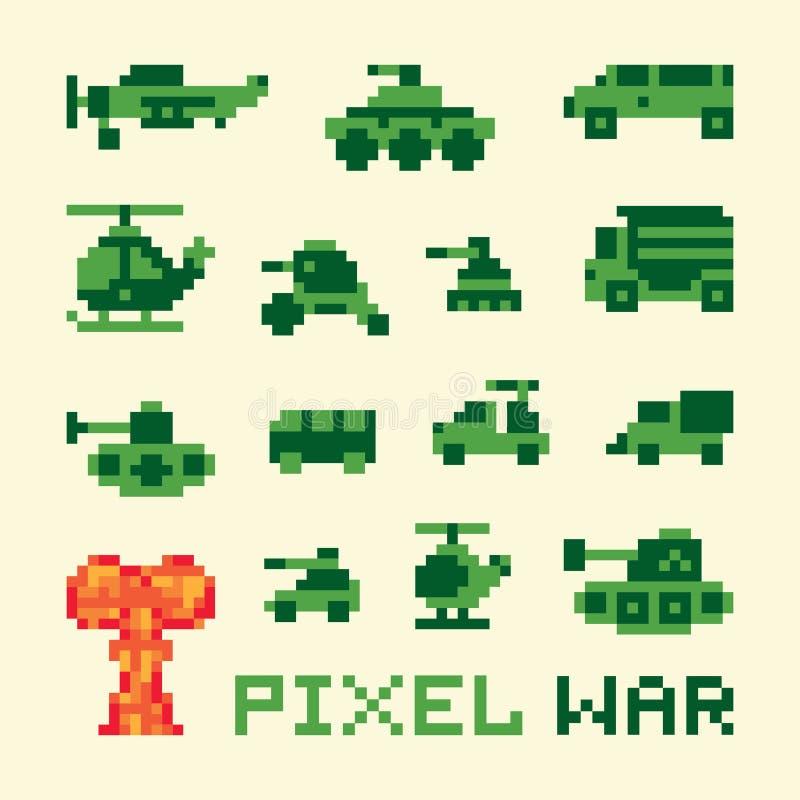 Máquinas de guerra del arte del pixel fijadas stock de ilustración