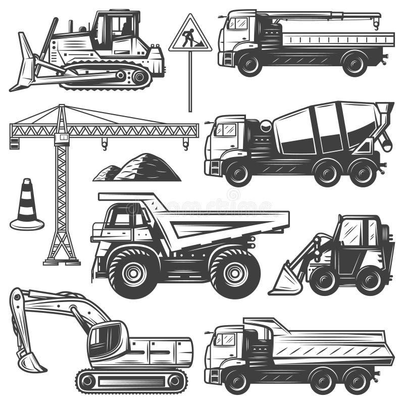 Máquinas de la construcción del vintage fijadas libre illustration
