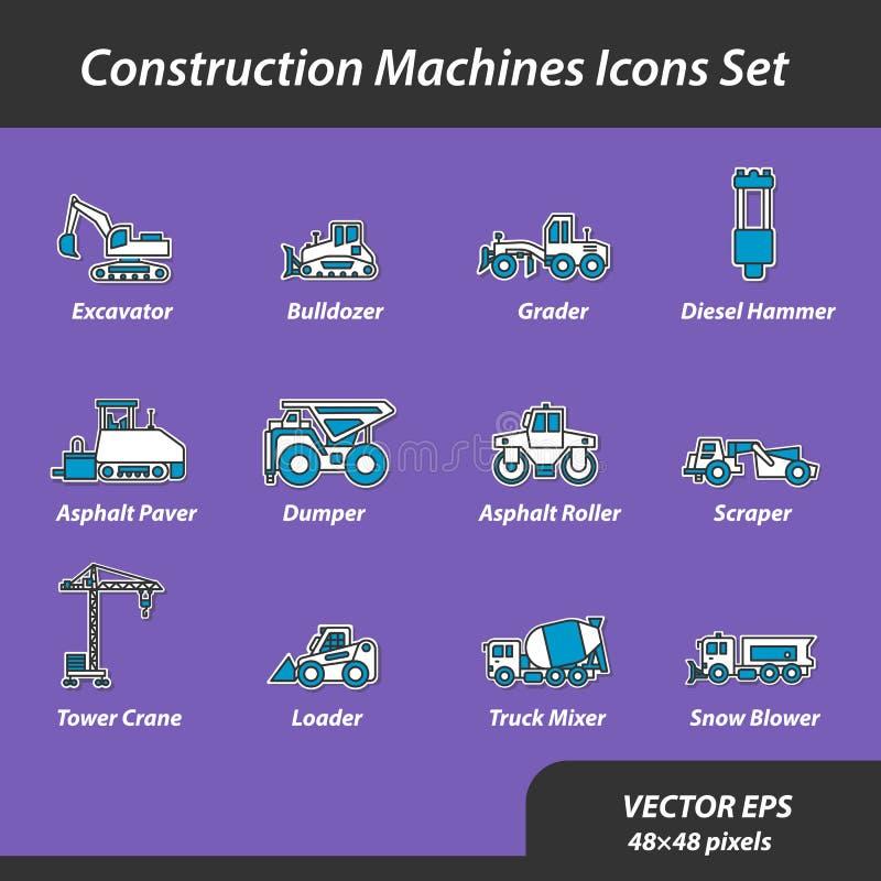 Máquinas de la construcción fijadas de iconos planos ilustración del vector