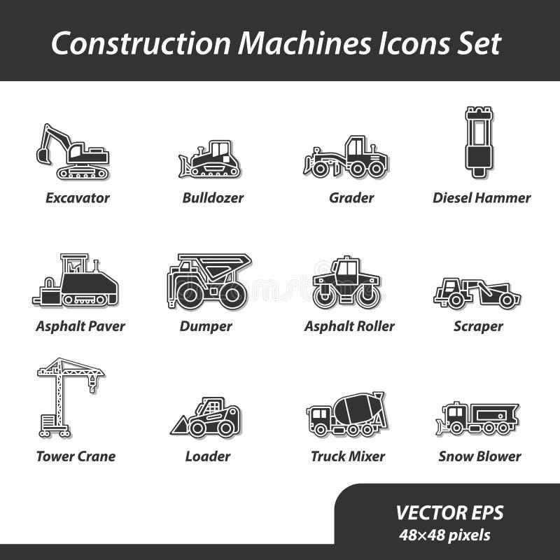 Máquinas de la construcción fijadas de iconos planos imagen de archivo