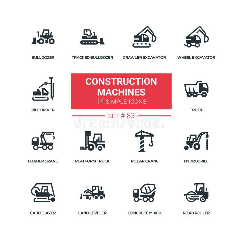 Máquinas de la construcción - iconos planos del estilo del diseño fijados ilustración del vector